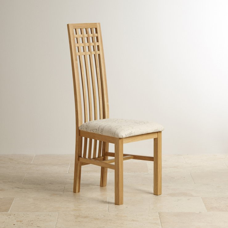 Lattice Back Natural Solid Oak and Scripted Beige Fabric Chair