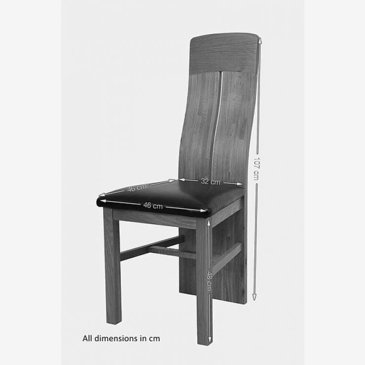 Lily Natural Solid Oak and Red Leather Dining Chair