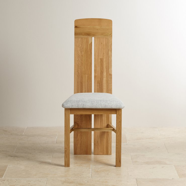 Lily Natural Solid Oak and Grey Plain Fabric Dining Chair