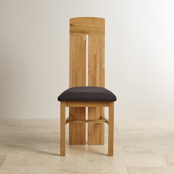 Lily Natural Solid Oak and Plain Black Patterned Fabric Dining Chair