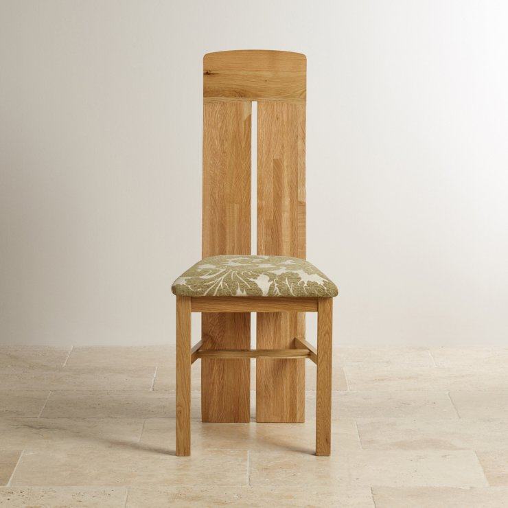 Lily Natural Solid Oak and Sage Patterned Fabric Dining Chair