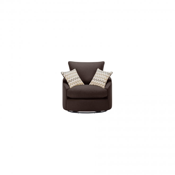Maddox Twist Chair in Delia Brown with Beige Scatter