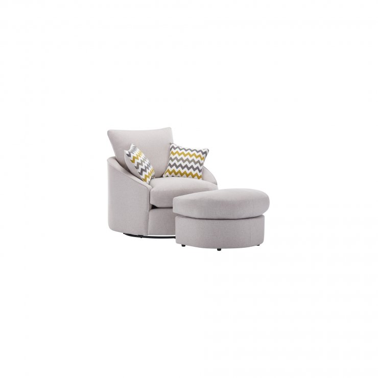 Maddox Twist Footstool in Eleanor Silver