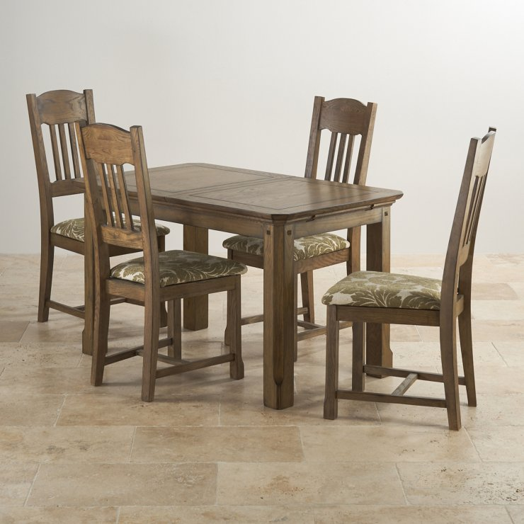 "Manor House Vintage Real Oak 4ft 3"" x 2ft 7"" Extending Dining Table with 4 Sage Manor House Chairs"