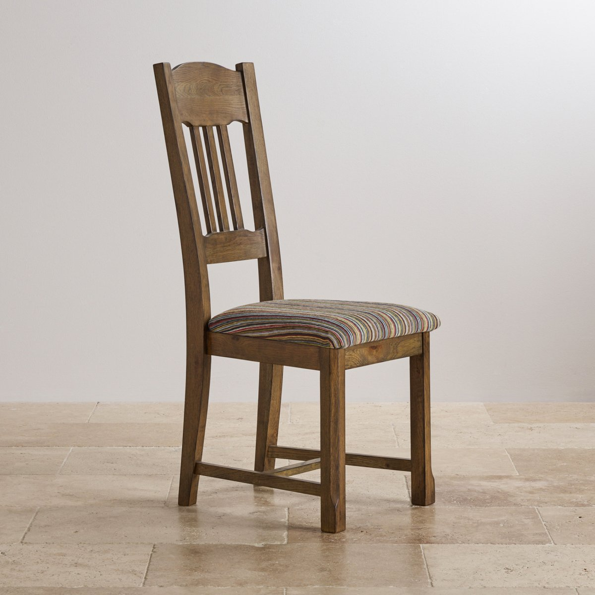 Manor house solid oak and striped multi coloured fabric chair for Multi coloured fabric dining chairs