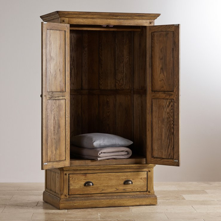 Manor House Vintage Solid Oak Double Wardrobe