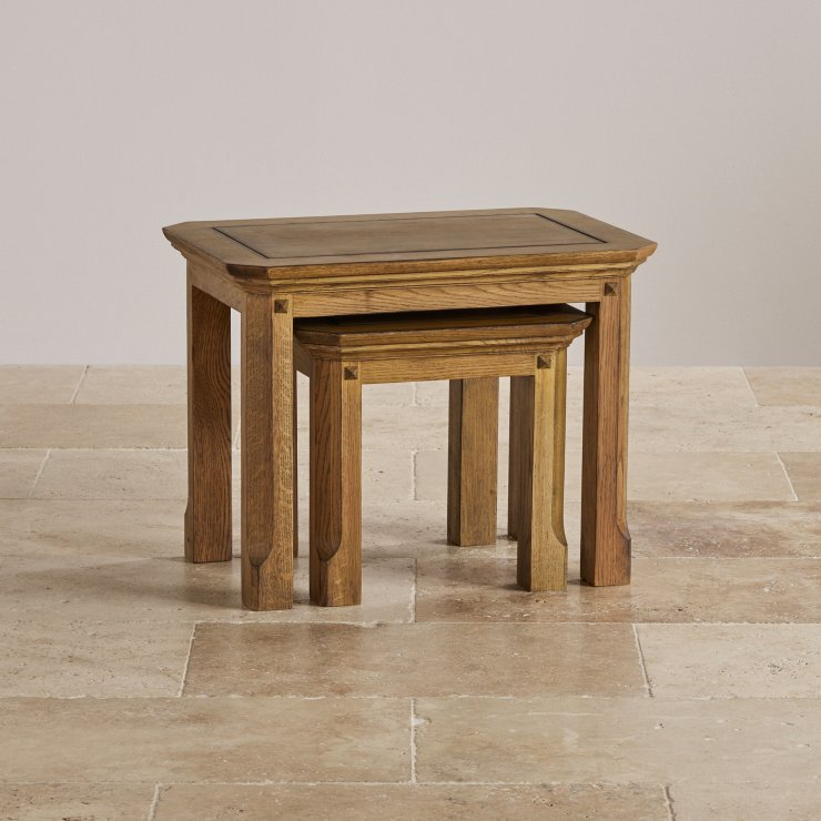Manor House Vintage  Solid Oak Nest of 2 Tables