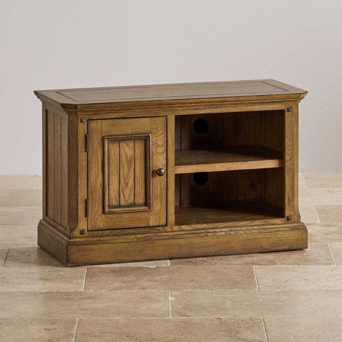 Manor house small tv unit in solid oak oak furniture land for Furniture land