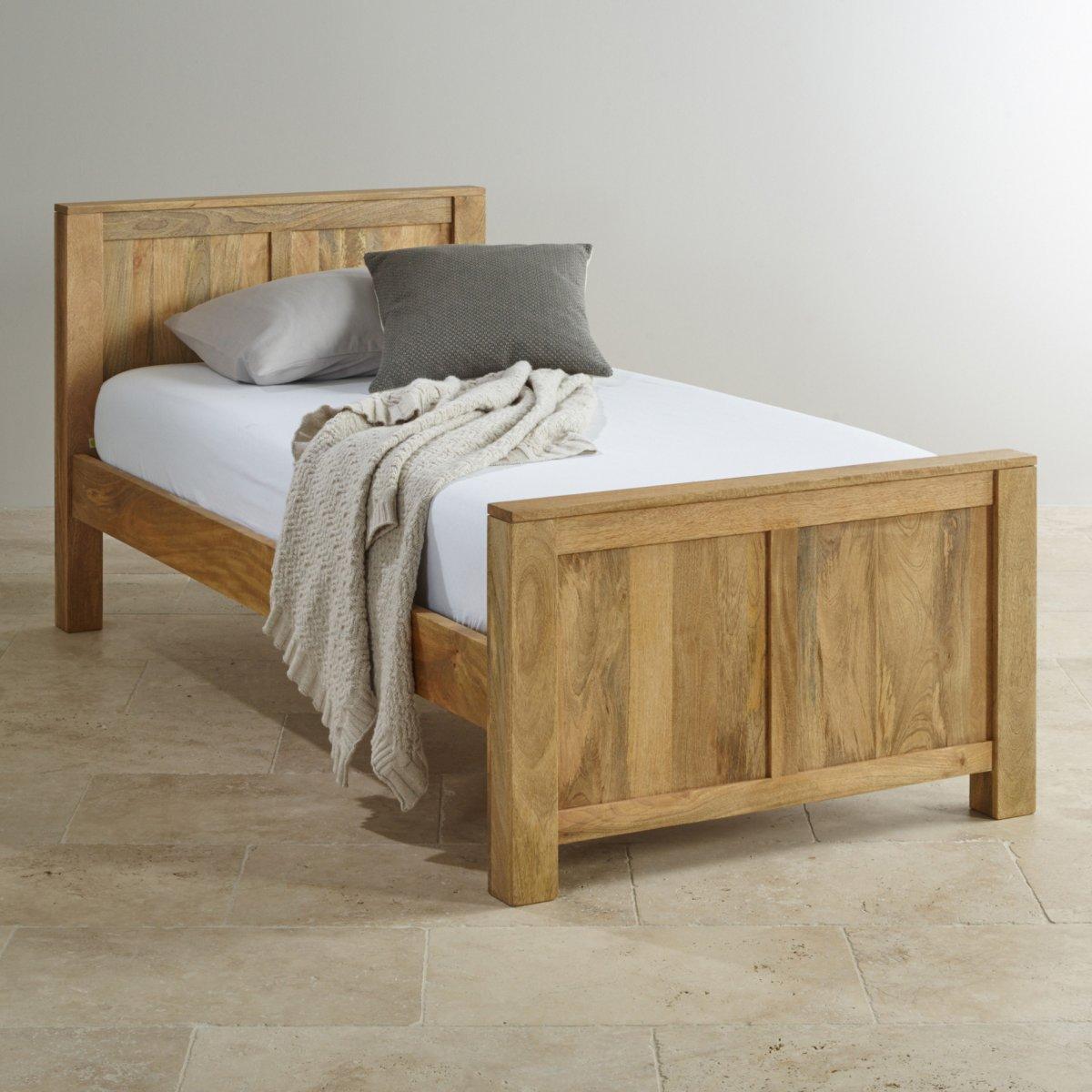 Single Bedroom Furniture Mantis Light Natural Solid Mango Single Bed