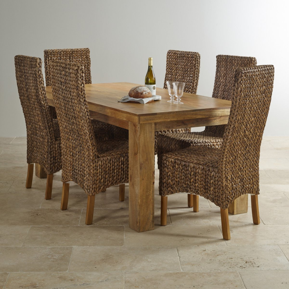 Mantis light 5ft x 2ft 6 dining table in natural solid mango for Furniture land