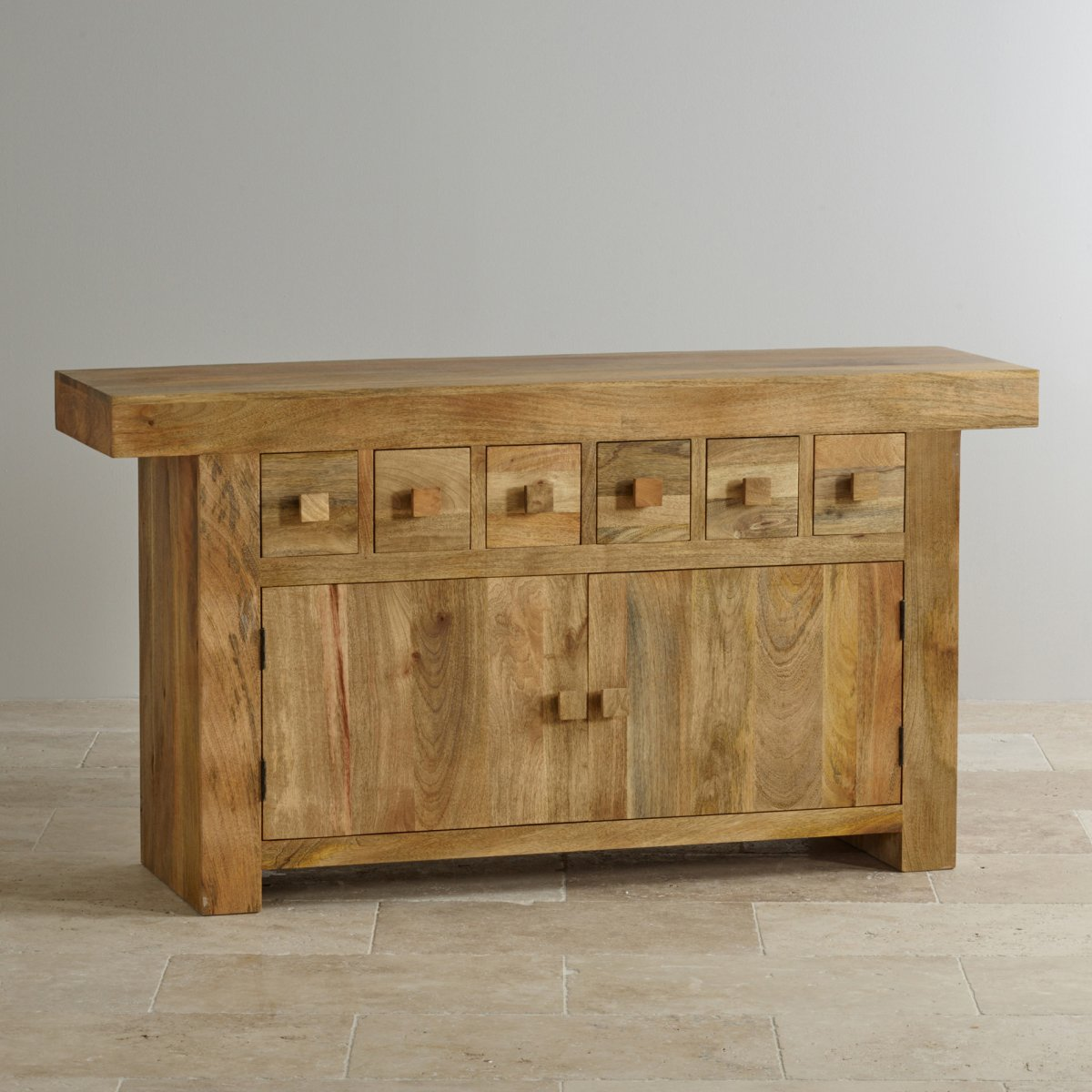 Mantis light large sideboard in natural solid mango for Solid wood furniture