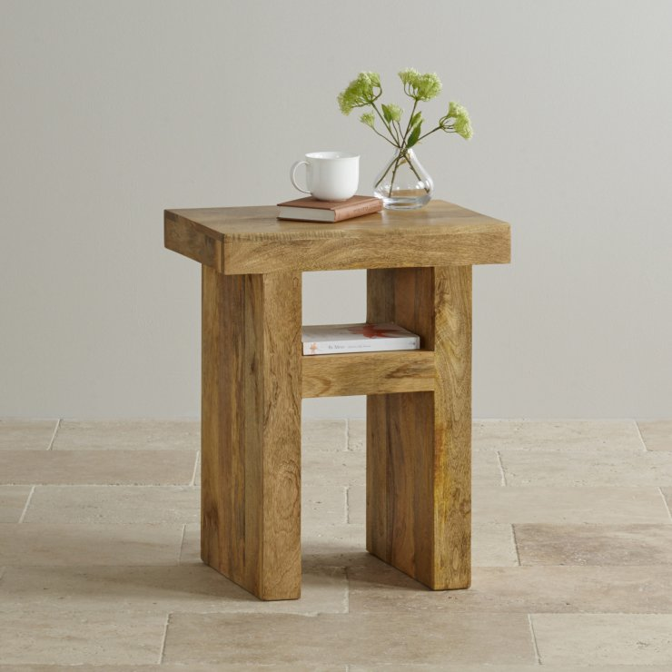 Mantis Light Natural Solid Mango Bedside Table with Shelf