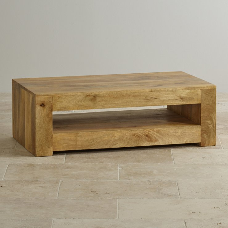Mantis Light Coffee Table In Solid Mango Oak Furniture Land