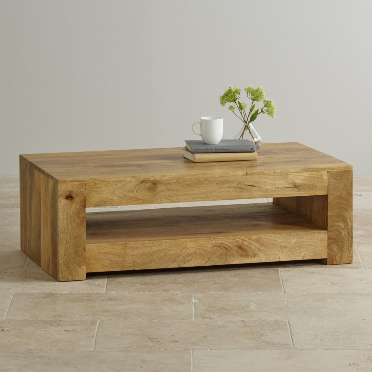 Mantis light coffee table in solid mango oak furniture land for Furniture land