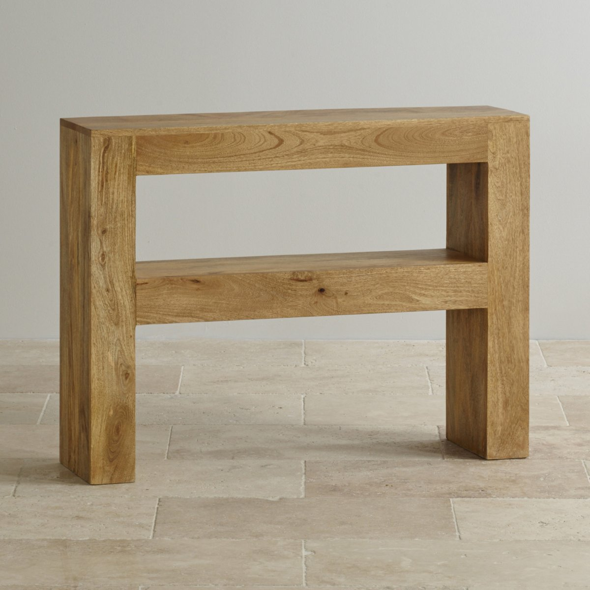 Light wood console table - Mantis Light Natural Solid Mango Console Table