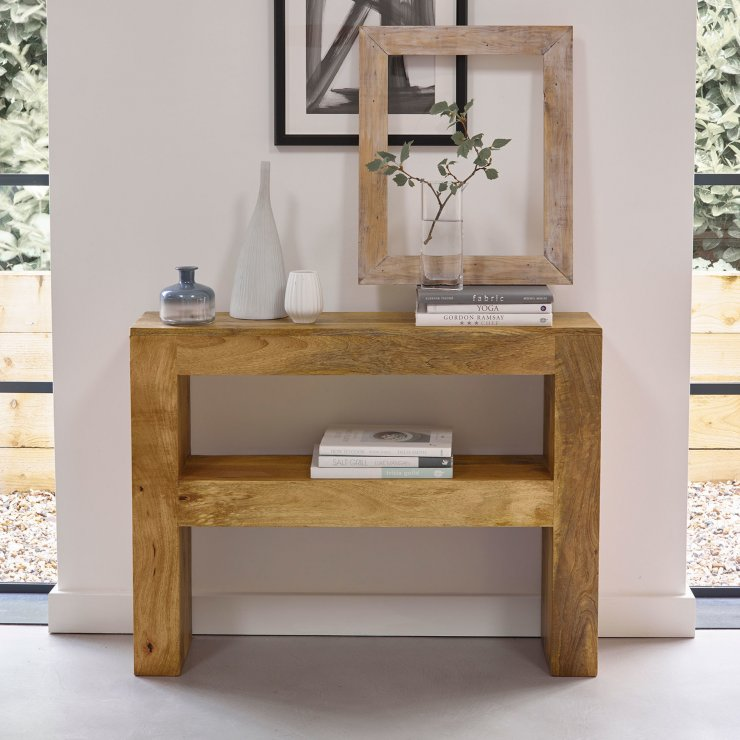 Pemberton Solid Chunky Oak Living Room Furniture Lamp Sofa: Mantis Light Console Table In Solid Mango