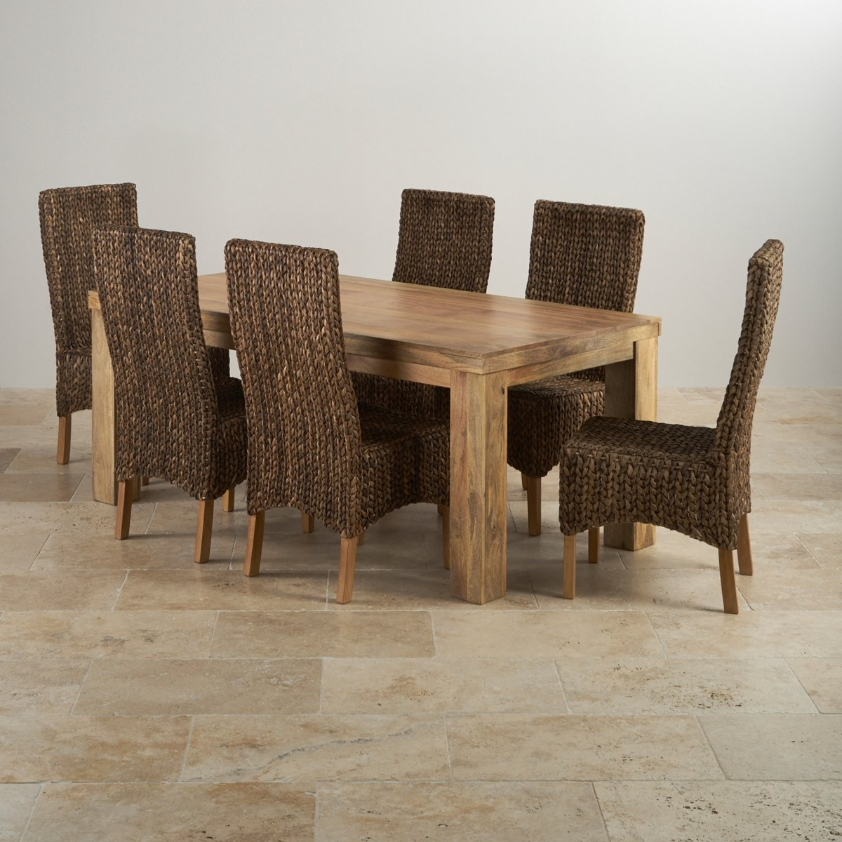 Mantis light dining set in natural mango dining table 6 for Hardwood furniture