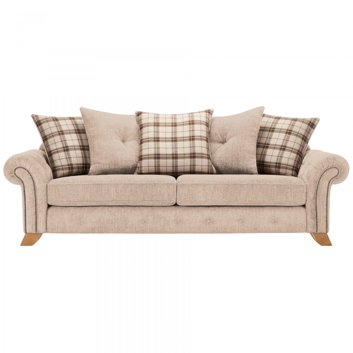 Montana 4 seater pillow back sofa in beige tartan cushions for Perez 4 seater pillow back sectional sofa