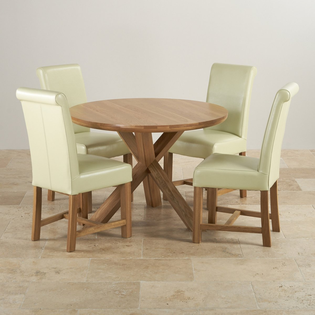 Natural oak round dining set table 4 cream leather chairs for Four chair dining table set