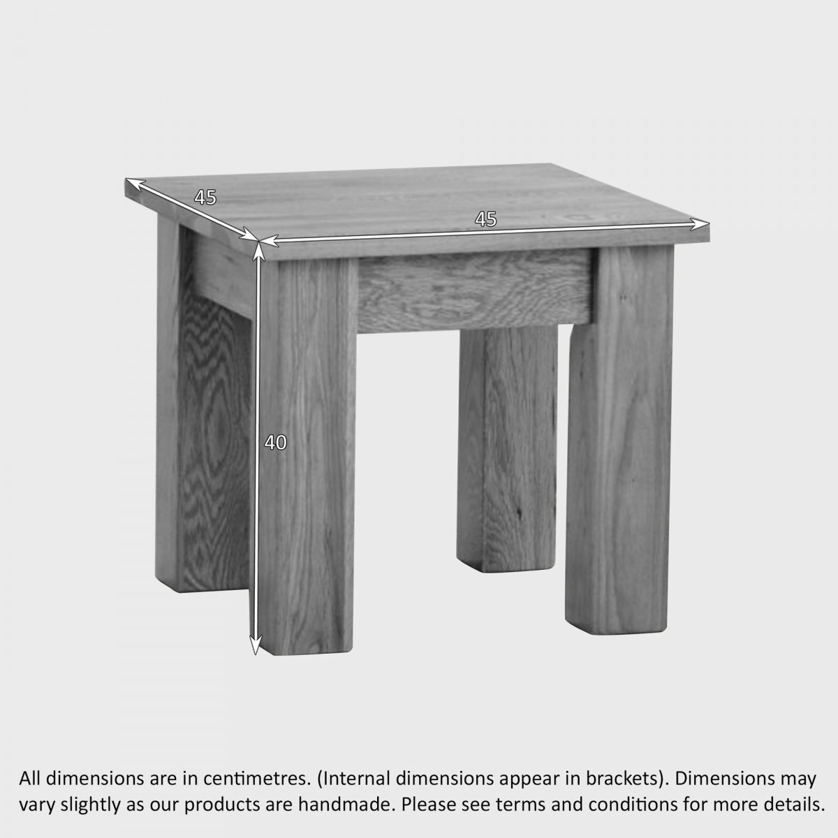 Minimalist Side Table in Natural Solid Oak Oak Furniture Land