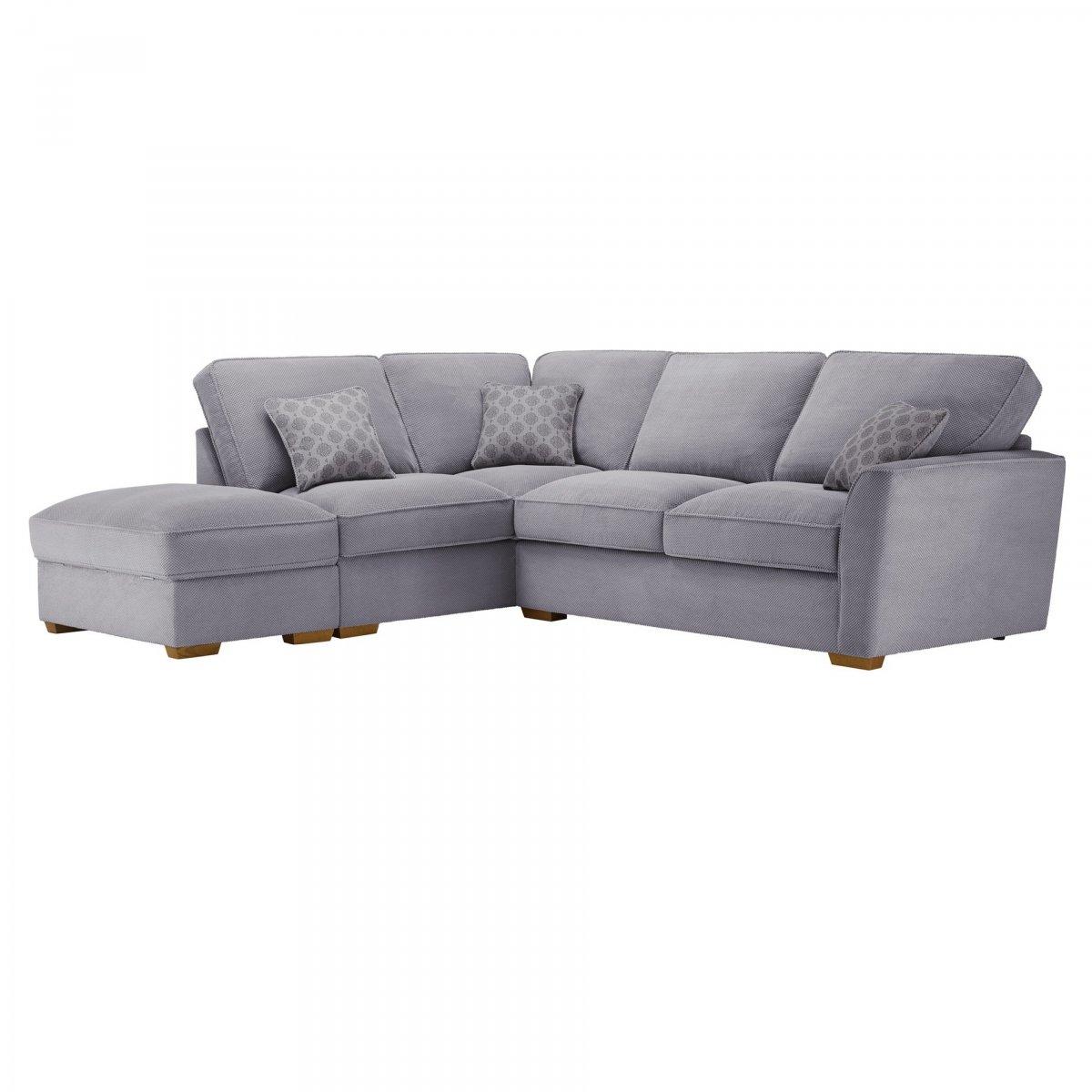 Nebraska Right Hand Corner Sofa With High Back In Aero Silver