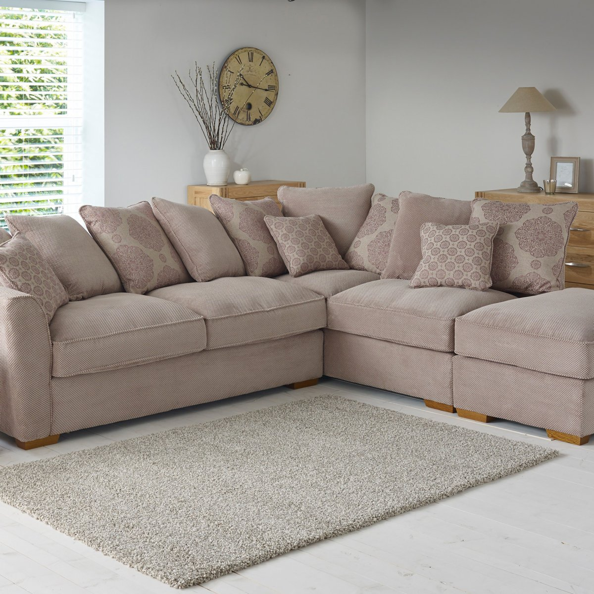 nebraska left hand corner sofa with pillow back in aero silver - fawn with rose