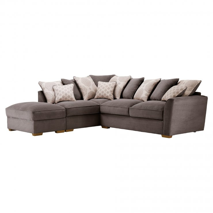 Nebraska Corner Pillow Back Sofa with Storage Footstool Right Hand in Aero Charcoal with Silver Scatters