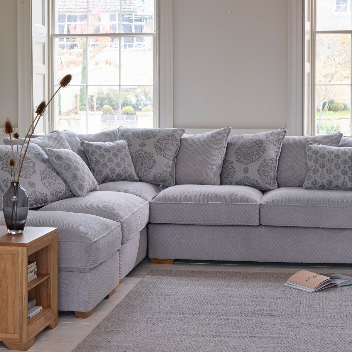 nebraska right hand corner sofa with pillow back in aero charcoal - fawn with rose