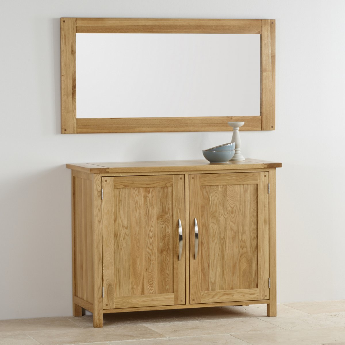 Newark natural solid oak wall mirror by oak furniture land for Oak furniture land