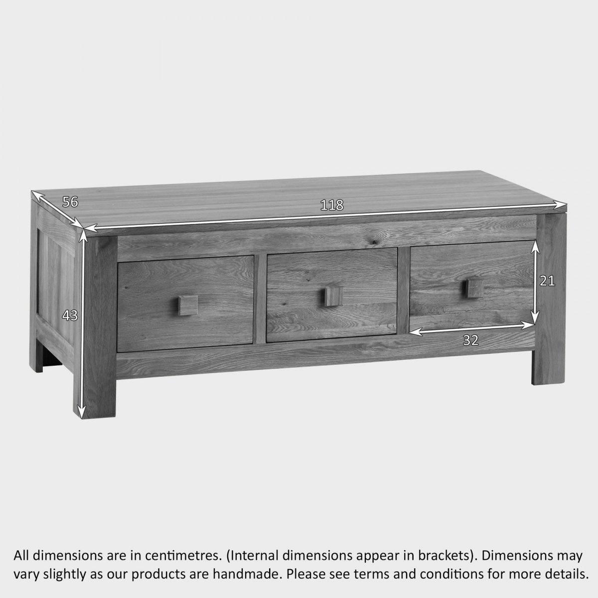 Indore Coffee Table With 6 Drawers: Oakdale 6 Drawer Coffee Table In Natural Solid Oak
