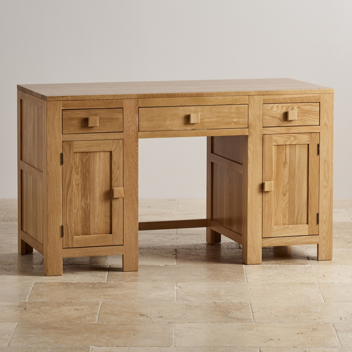 Oakdale computer desk in natural solid oak oak furniture for Oak furniture land
