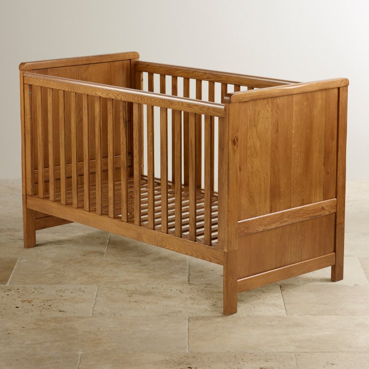 Original Rustic Solid Oak 3 in 1 Cot Bed