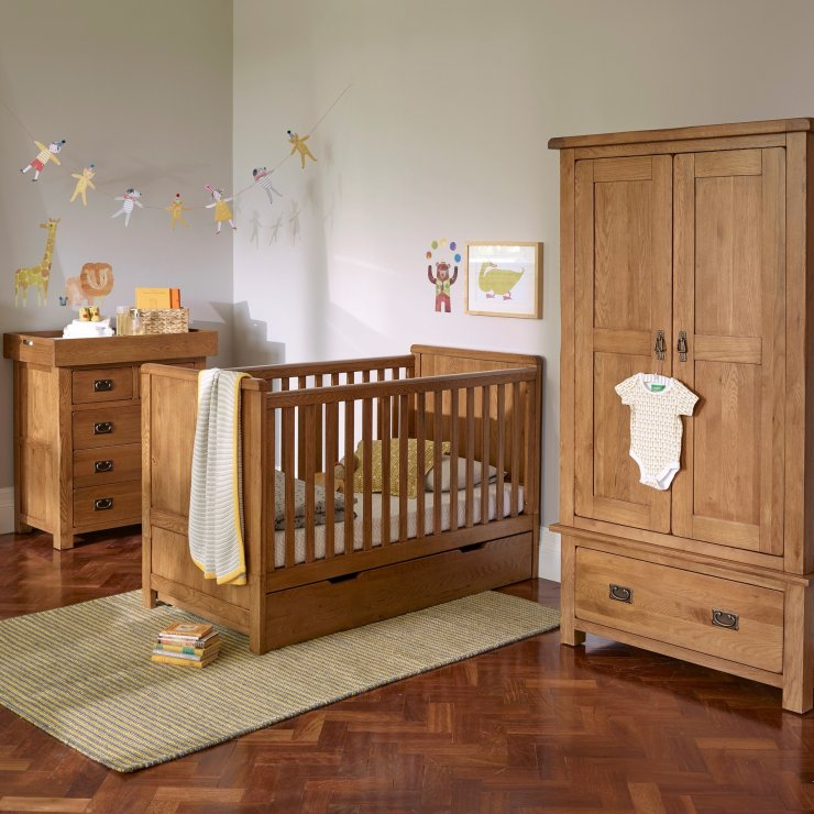 Original Rustic Solid Oak Nursery 3+2 Chest of Drawers