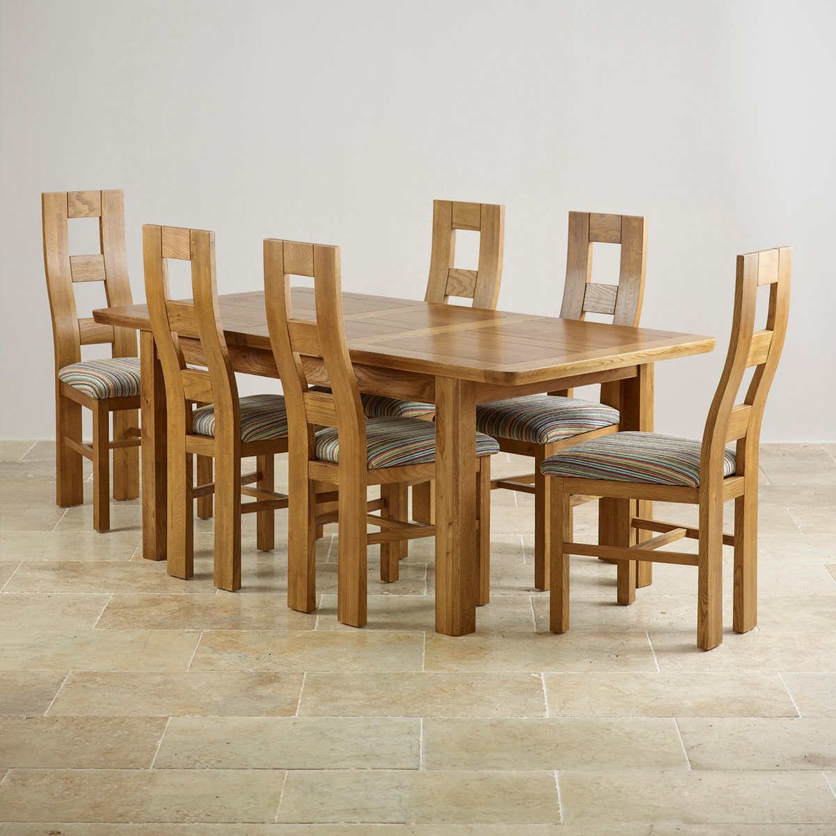 Orrick extending dining set in rustic oak table 6 beige for Dining table and 6 chairs set