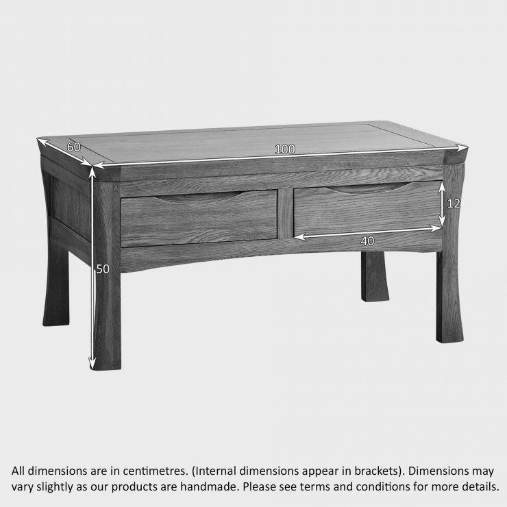 Orrick 4 drawer coffee table in rustic oak oak furniture for Rustic coffee table with drawers