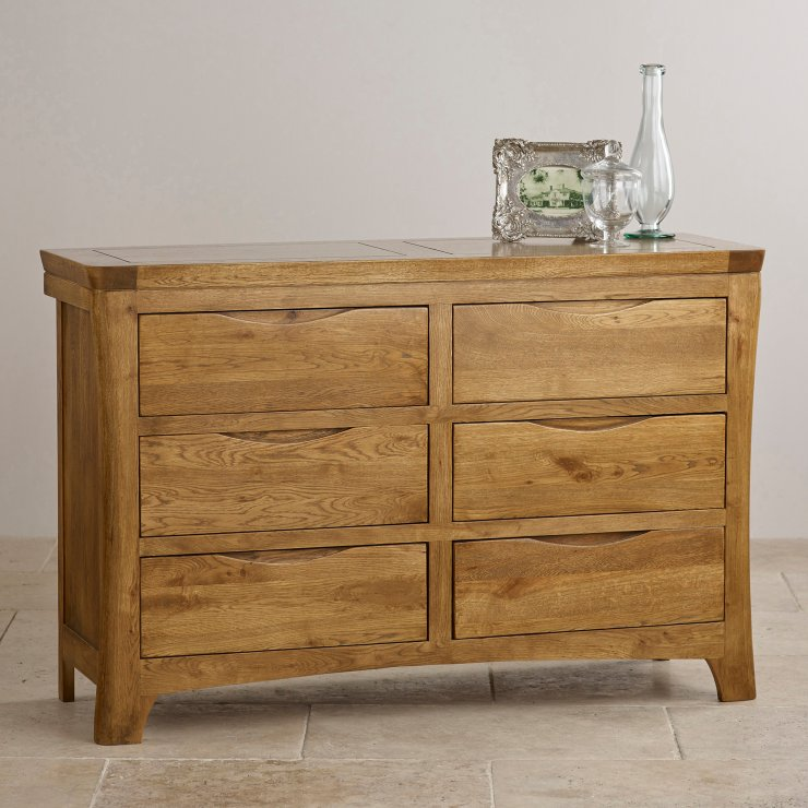 Orrick Rustic Solid Oak 6 Drawer Chest