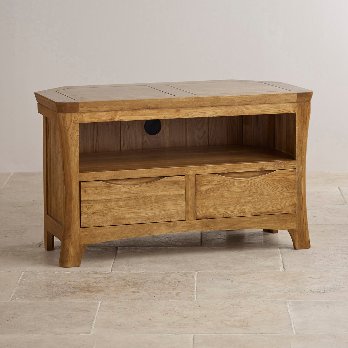 Orrick corner tv cabinet in rustic oak oak furniture land for Oak furniture land