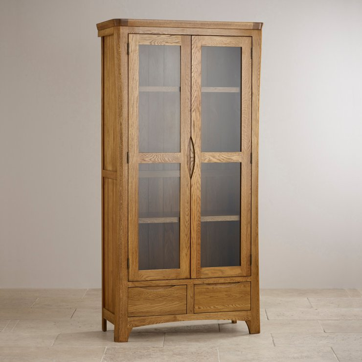 Orrick Rustic Solid Oak Glazed Display Cabinet