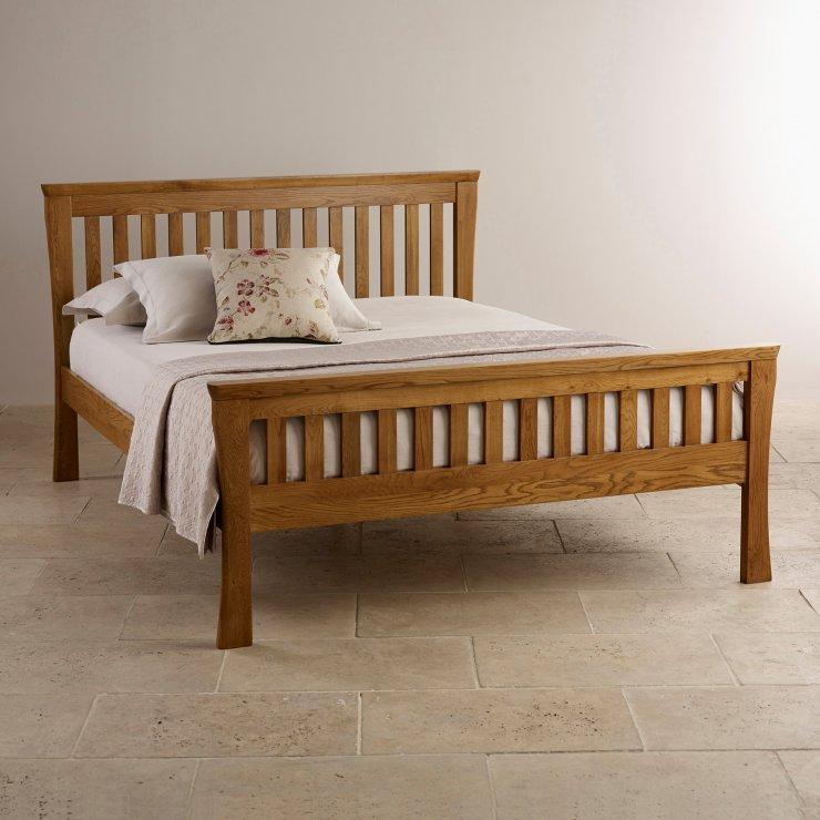 Orrick king size bed rustic solid oak oak furniture land for Furniture land