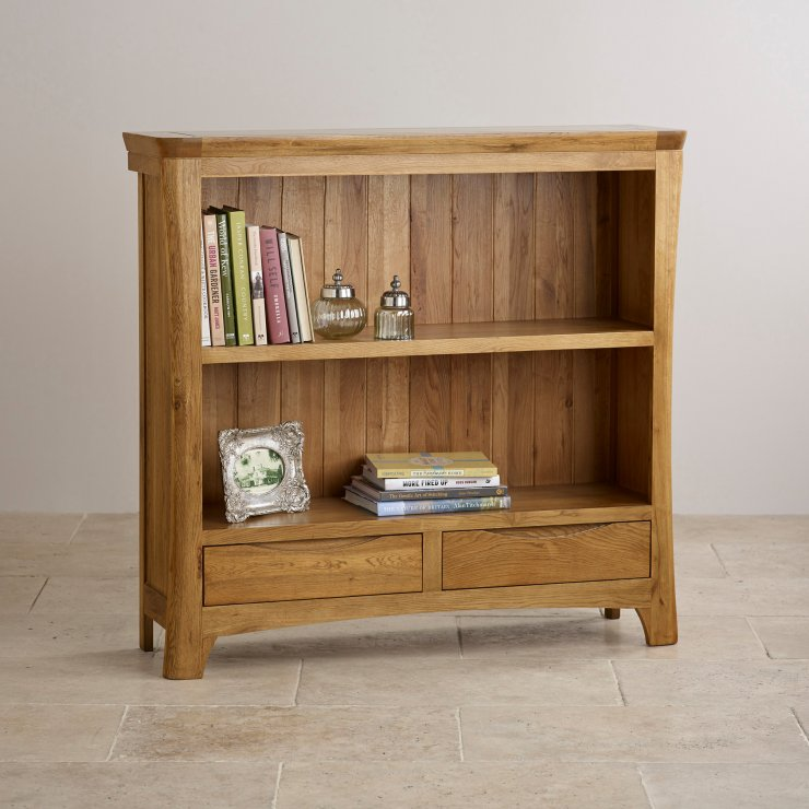 Orrick Wide Bookcase Solid Oak Oak Furniture Land