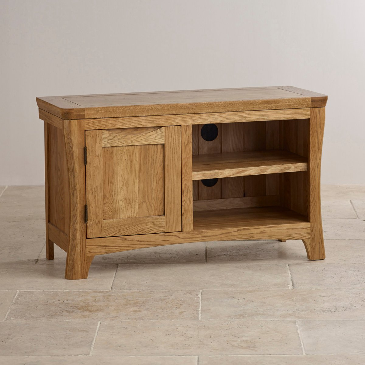 Orrick tv cabinet in rustic solid oak oak furniture land for Oak furniture land
