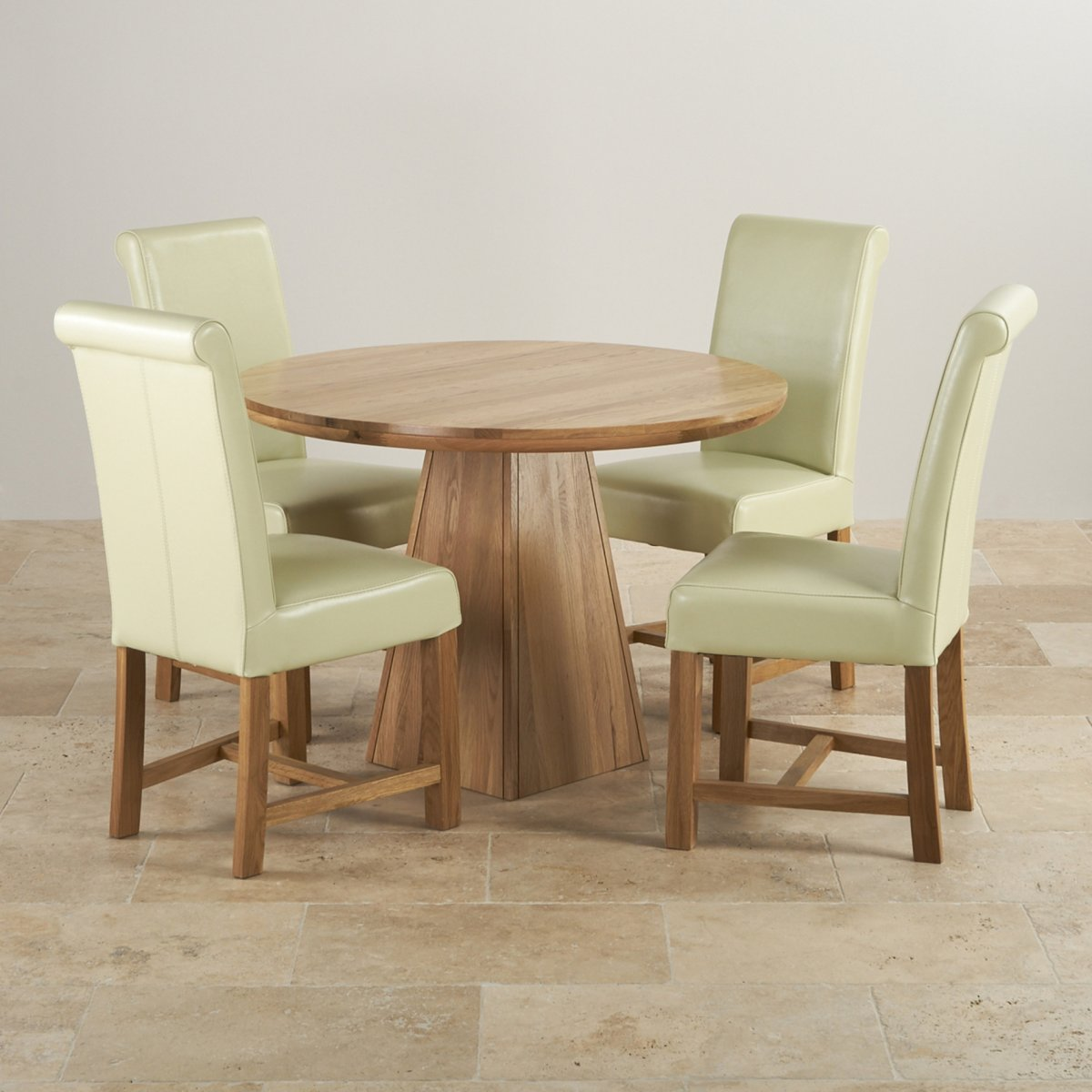 Provence Dining Set In Real Oak: Table + 4 Leather Cream