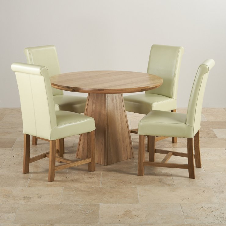 Provence Dining Set In Real Oak Table 4 Leather Cream Chairs