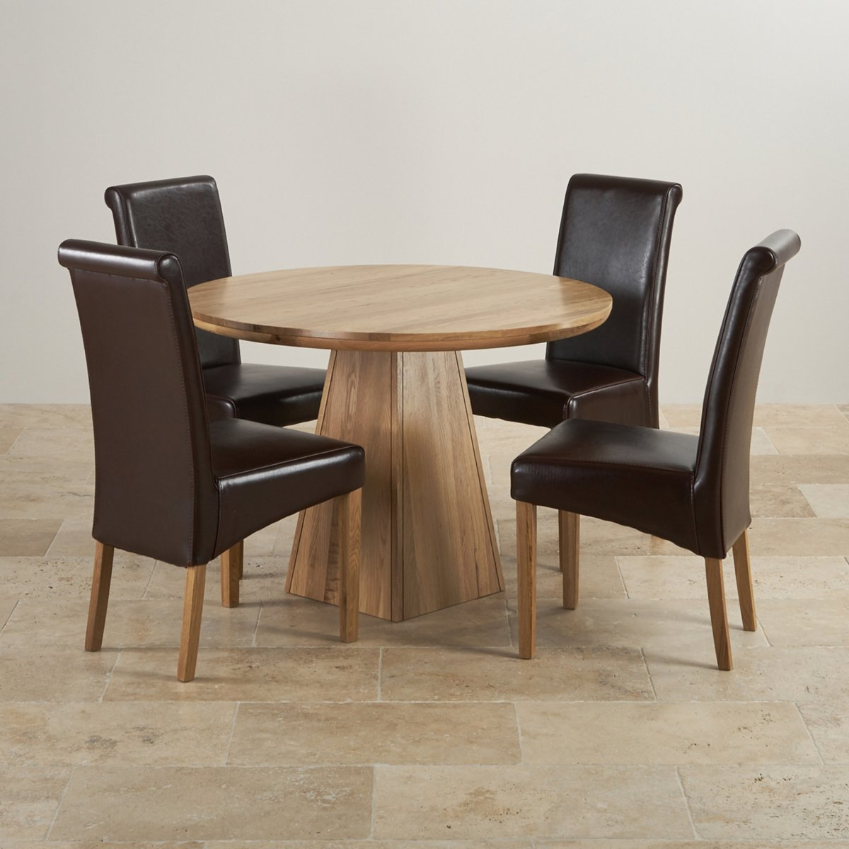 Provence solid oak 3ft 7 dining table with 4 brown chairs for Round dining table set for 4