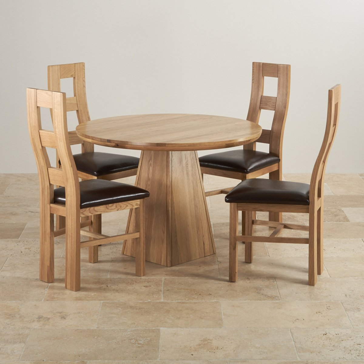 Provence solid oak dining set 3ft 7 table with 4 chairs for Round dining table set for 4