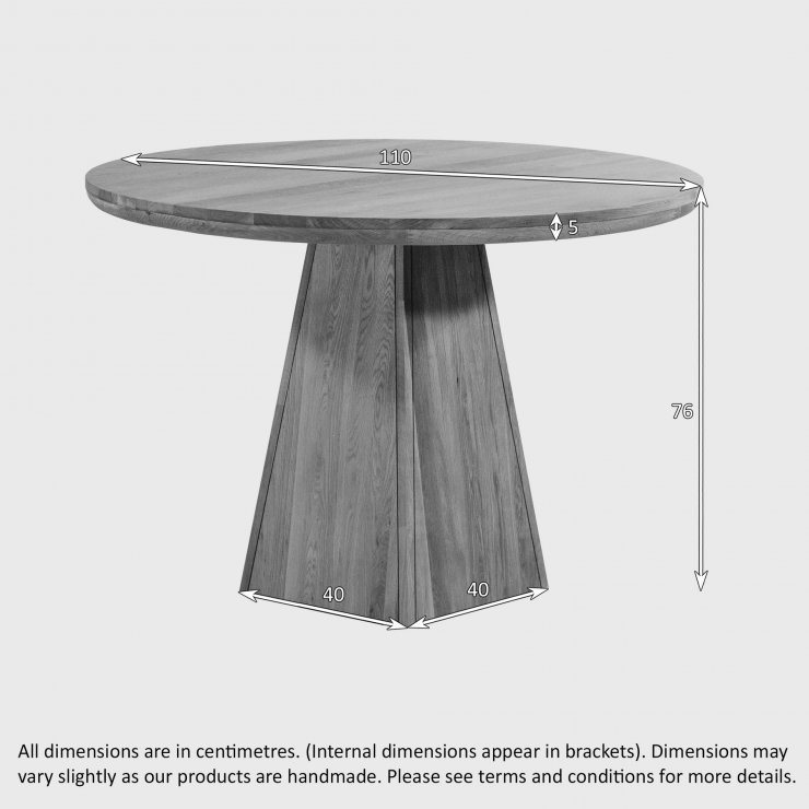Provence Natural Solid Oak Round Table with Pyramid Base