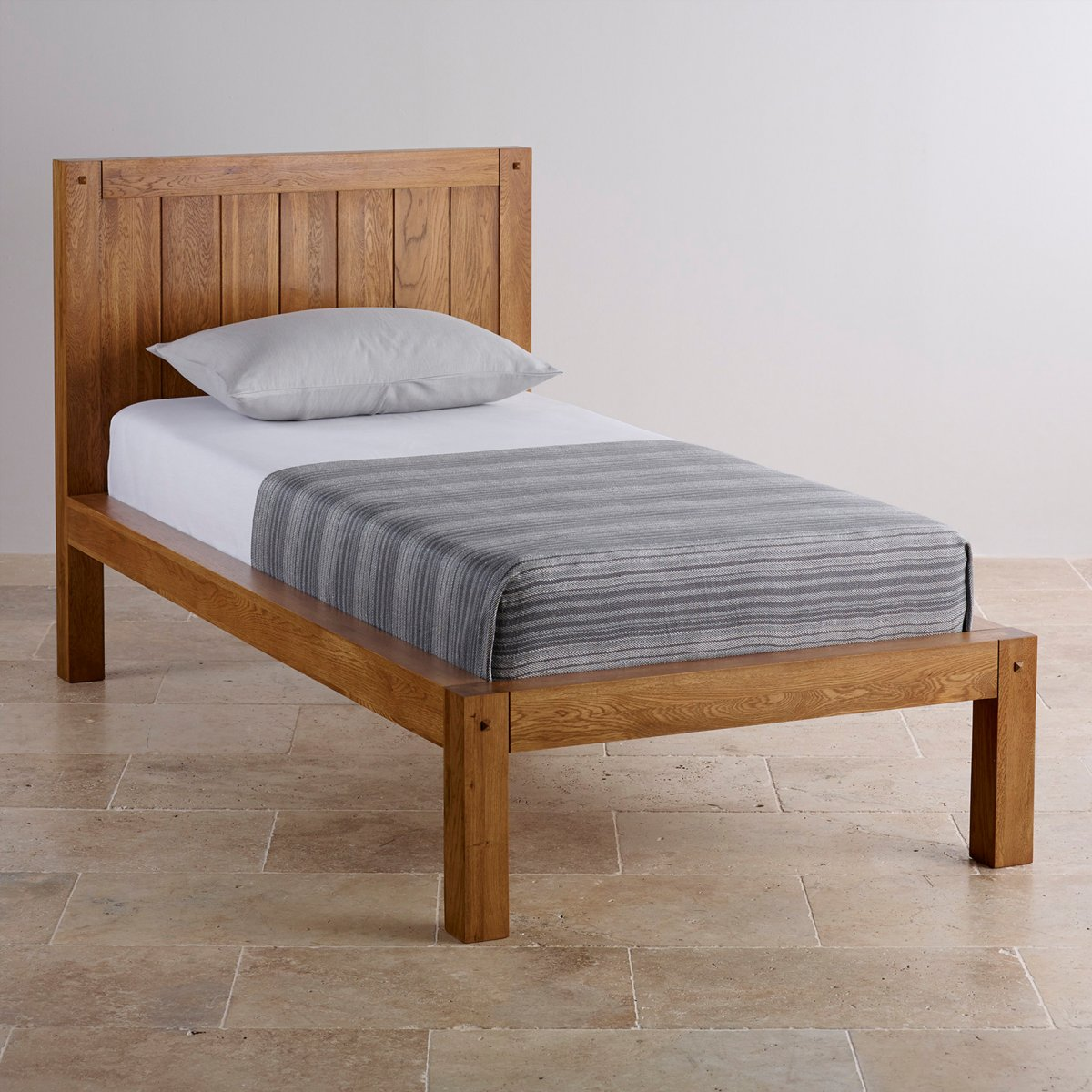 Quercus single bed rustic solid oak oak furniture land Wooden bed furniture