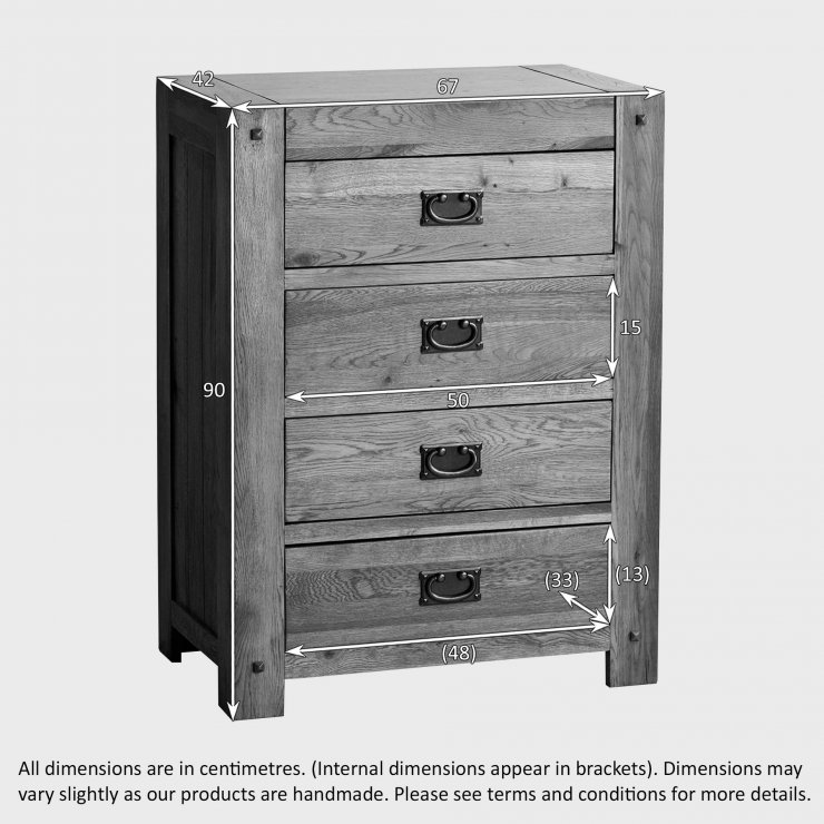 Quercus Rustic Solid Oak 4 Drawer Tallboy