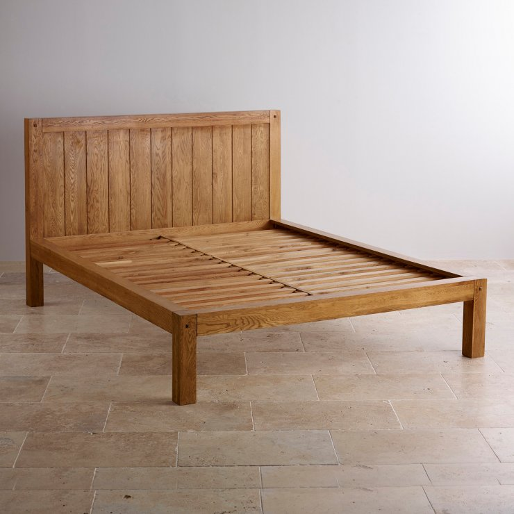 "Quercus Rustic Solid Oak 4ft 6"" Double Bed"