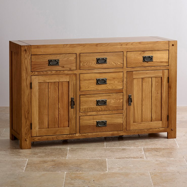 Quercus Rustic Solid Oak 6 Drawer Large Sideboard